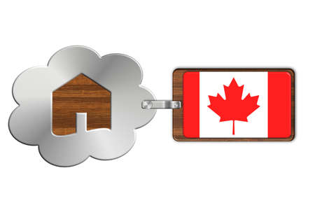 lucido: Cloud and house made of steel and wood with Canada flag