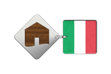 lucido: Symbol home 2 steel and wood with Italian flag Stock Photo