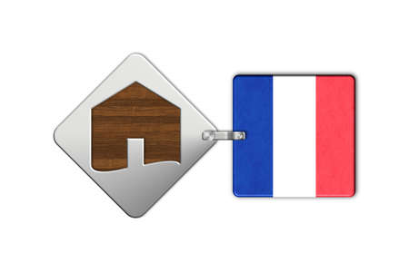 lucido: Symbol home 2 steel and wood with flag France