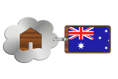 lucido: Cloud and house made of steel and wood with Australia flag