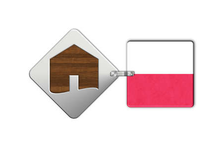 lucido: Symbol home 2 steel and wood with flag Poland