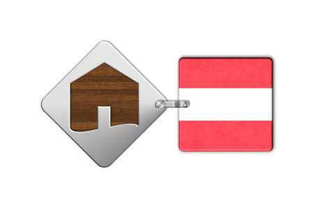 icona: Symbol home 2 steel and wood with Austria flag