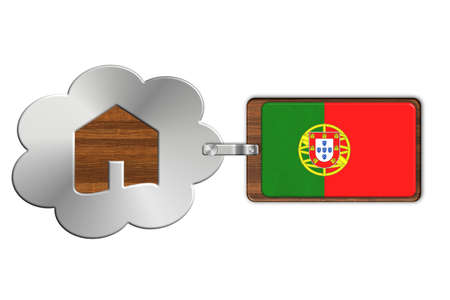 bandera de portugal: Cloud and house of steel and wood with flag Portugal Foto de archivo