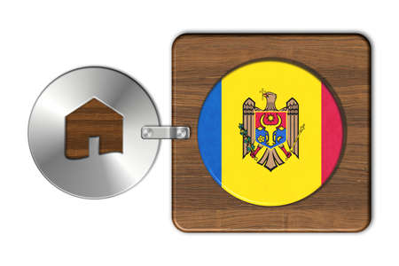 lucido: Home symbol made of steel and wood with Moldova flag