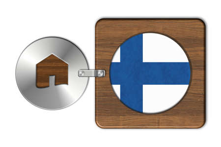 finland flag: Home symbol made of steel and wood with Finland flag Stock Photo