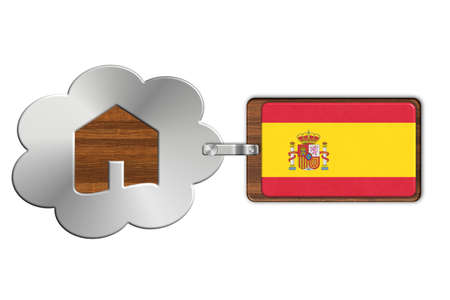 lucido: Cloud and house made of steel and wood with Spain flag Stock Photo