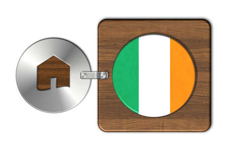 icona: Symbol house in steel and wood with Ireland flag
