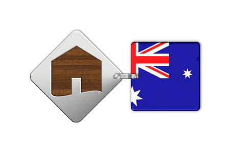 icona: Symbol home 2 steel and wood with Australia flag