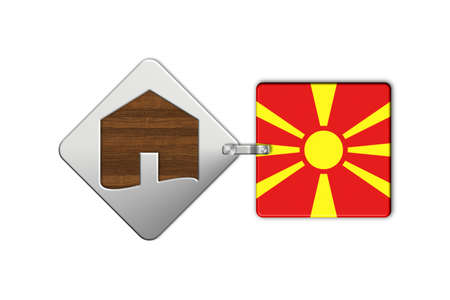 lucido: Symbol home 2 steel and wood with Macedonia flag