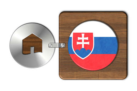 icona: Home symbol made of steel and wood with Slovakia flag Stock Photo