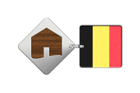 icona: Symbol home 2 steel and wood with Belgium flag