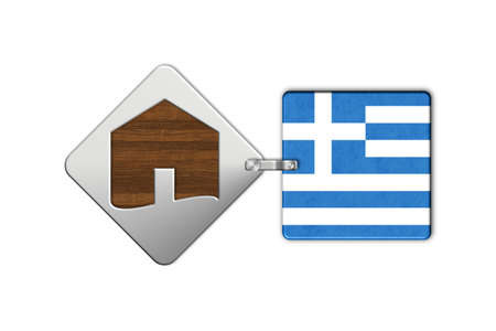 icona: Symbol home 2 steel and wood with flag Greece