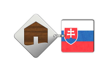 lucido: Symbol home 2 steel and wood with Slovakia flag