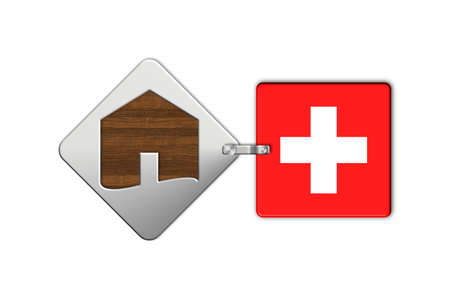 icona: Symbol home 2 steel and wood with Swiss flag Stock Photo