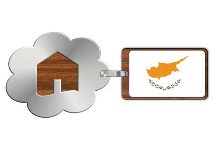 icona: Cloud and house of steel and wood with Cyprus flag Stock Photo
