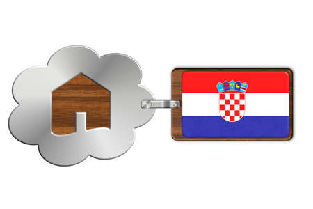 lucido: Cloud and house of steel and wood with flag Croatia