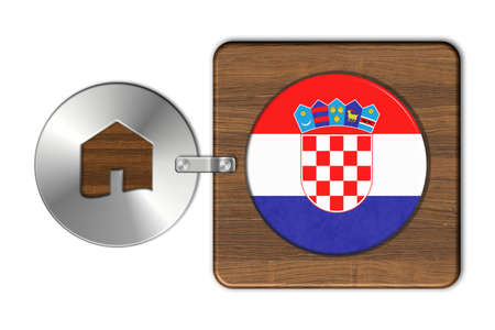 icona: Symbol house in steel and wood with flag Croatia