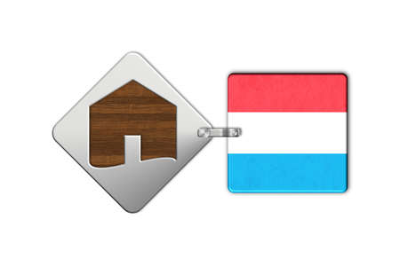 lucido: Symbol home 2 steel and wood with Luxembourg flag