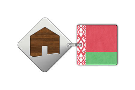 lucido: Symbol home 2 steel and wood with Belarus flag Stock Photo