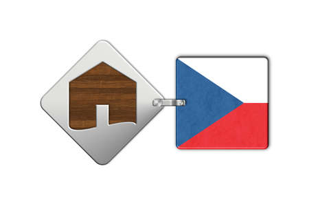 rep: Symbol home 2 steel and wood with flag Czech Rep Stock Photo