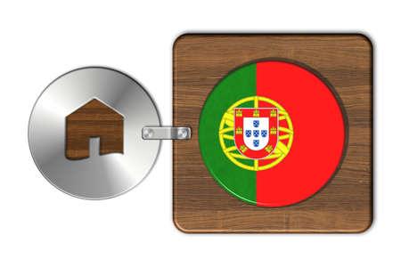 bandera de portugal: casa s�mbolo de acero y madera con la bandera de Portugal Foto de archivo
