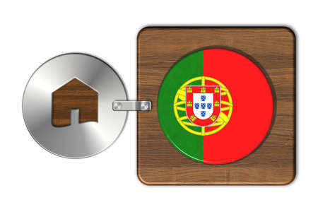 bandera de portugal: Symbol house in steel and wood with flag Portugal