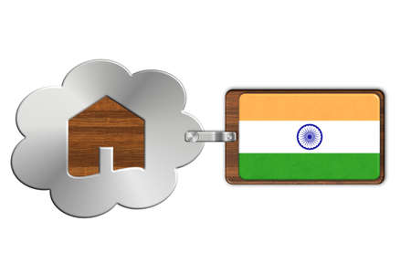 lucido: Cloud and house of steel and wood with flag India