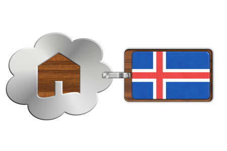 iceland flag: Cloud and house made of steel and wood with Iceland flag Stock Photo