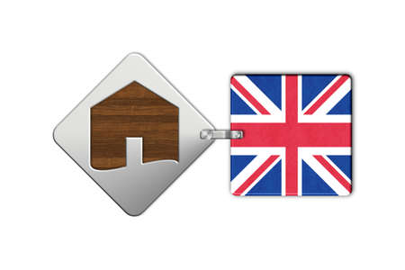icona: Symbol home 2 steel and wood with flag United Kingdom Stock Photo
