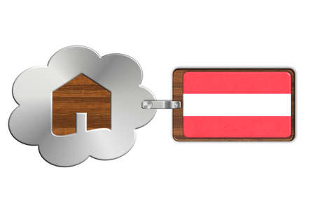 lucido: Cloud and house made of steel and wood with Austria flag.
