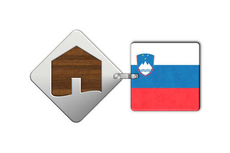 lucido: Symbol home 2 steel and wood with flag Slovenia