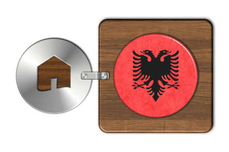 icona: Symbol house in steel and wood with flag Albania Stock Photo