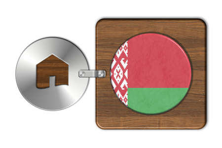 lucido: Home symbol made of steel and wood with Belarus flag