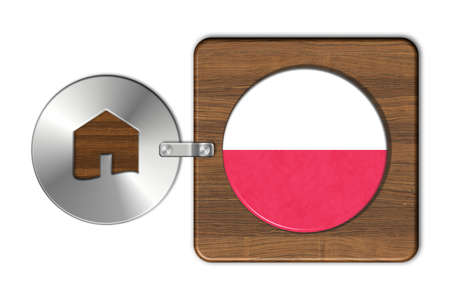 icona: Symbol house in steel and wood with flag Poland Stock Photo