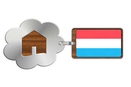 icona: Cloud and house made of steel and wood with Luxembourg flag