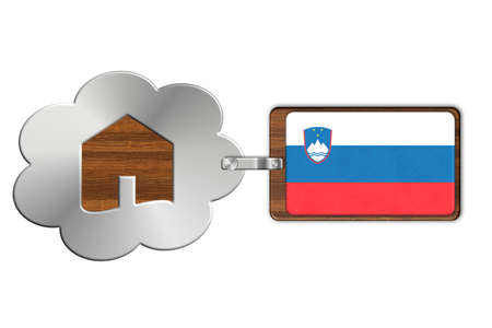 lucido: Cloud and house of steel and wood with flag Slovenia