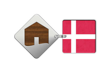 icona: Symbol home 2 steel and wood with Denmark flag