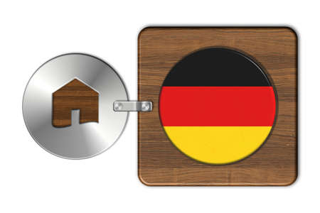 icona: Symbol house in steel and wood with Germany flag. Stock Photo