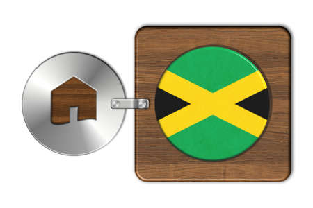 icona: Home symbol made of steel and wood with Jamaica flag.