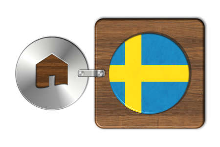 lucido: Symbol house in steel and wood with flag Sweden