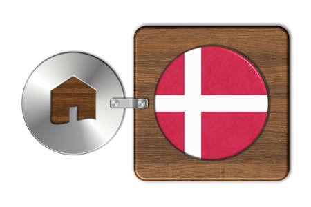 lucido: Home symbol made of steel and wood with Denmark flag