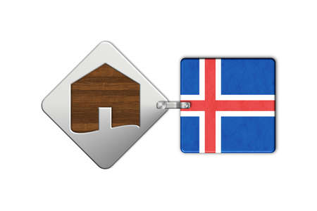 lucido: Symbol home 2 steel and wood with Iceland flag
