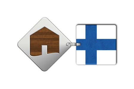 icona: Symbol home 2 steel and wood with Finland flag Stock Photo
