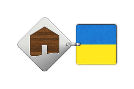 lucido: Symbol home 2 steel and wood with flag Ukraine Stock Photo