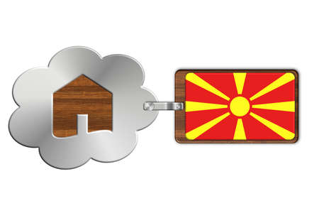 lucido: Cloud and house made of steel and wood with Macedonia flag