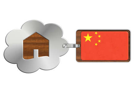 lucido: Cloud and house made of steel and wood with China flag