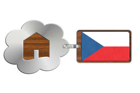 lucido: Cloud and house of steel and wood with flag Czech Rep
