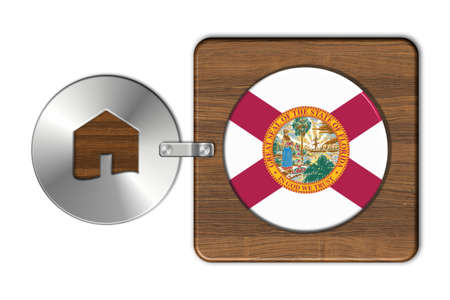 lucido: Home symbol made of steel and wood with Florida flag Stock Photo