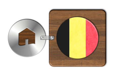 icona: Home symbol made of steel and wood with Belgium flag Stock Photo