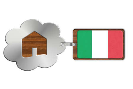 lucido: Cloud and house made of steel and wood with Italian flag